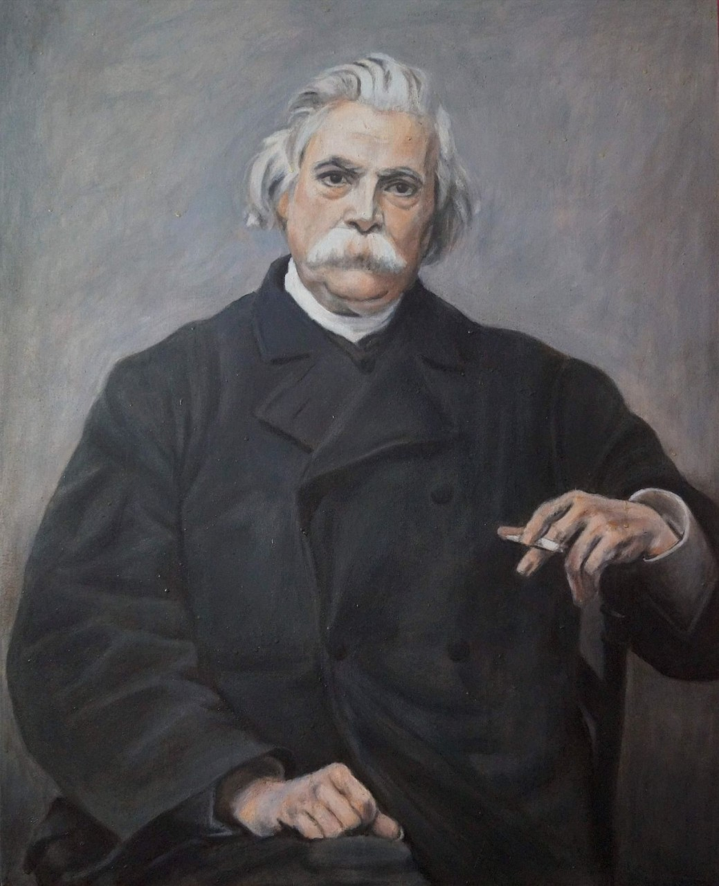 Oil painting, 75x95 cm, reproduction of Vlaho Bukovac work: Monsieur Gusman