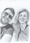 Couple portrait artwork - graphite pencil