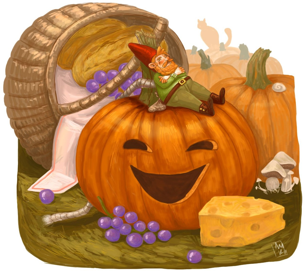 Running away from the cat made him tired and hungry.Finally, he saw a field of pumpkins and in that field a basket filed with food. Cat couldnt find him anymore,so he climbed on the pumpkin and decided to rest.