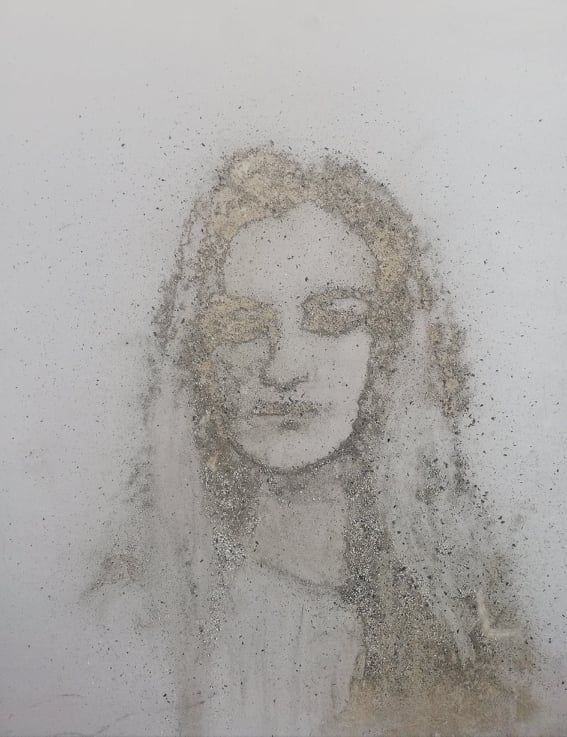 Autoportrait made with dust, 60x60 cm
