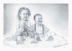 Cute babies portrait artwork - graphite pencil